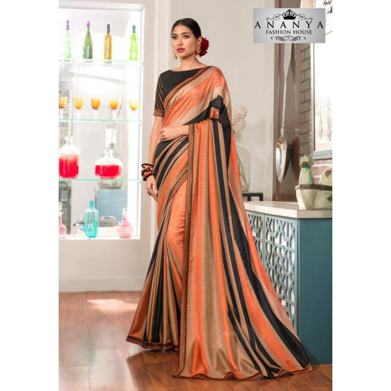 Classic Multicolor Silk- Jacquard Saree with Black Blouse