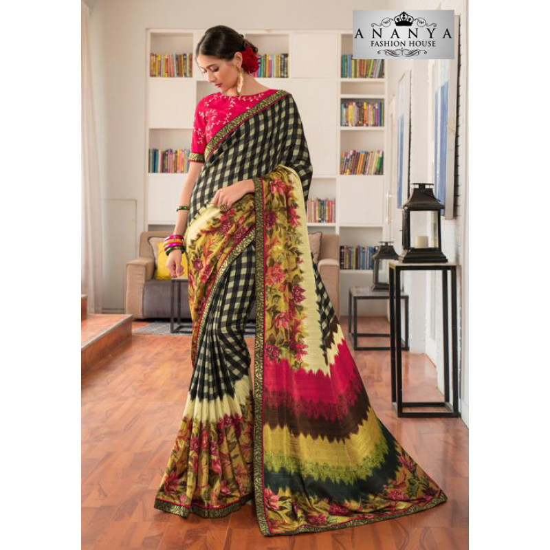 Enigmatic Multicolor Silk- Jacquard Saree with Rani Pink Blouse