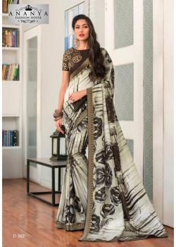 Exotic White- Black Silk- Jacquard Saree with Brown Blouse