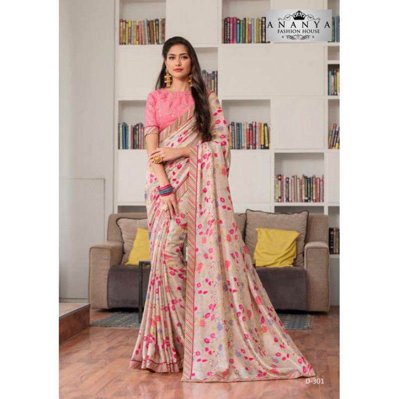 Gorgeous Light Pink Silk- Jacquard Saree with Light Pink Blouse