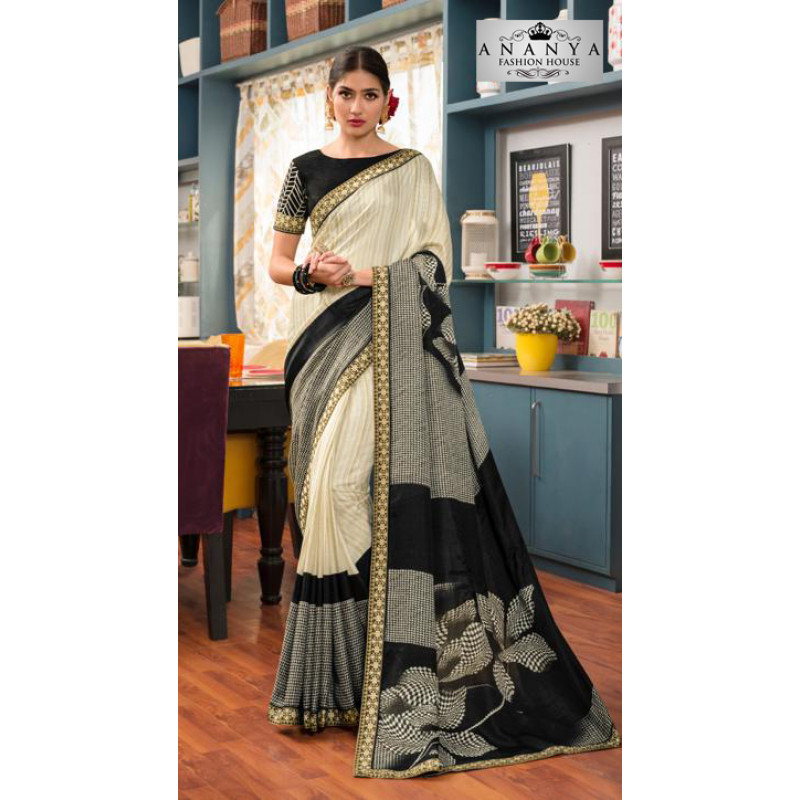 Incredible Cream- Black Silk- Jacquard Saree with Black Blouse