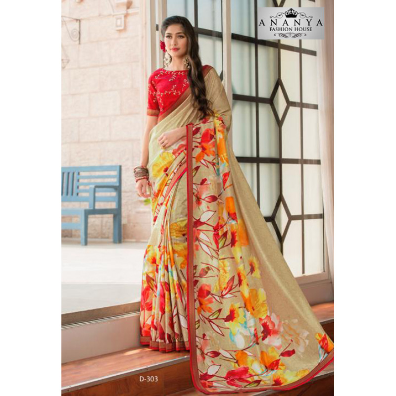 Magnificient Multicolor Silk- Jacquard Saree with Red Blouse