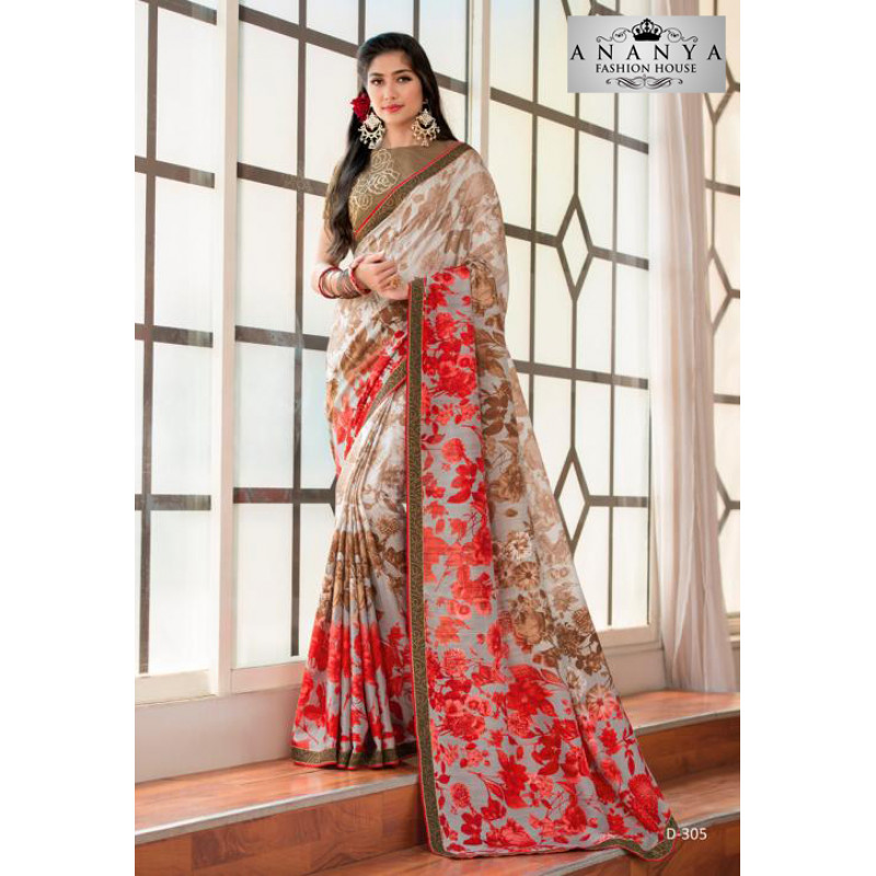 Plushy Multicolor Silk- Jacquard Saree with Beige Blouse