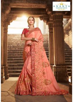 Adorable Light Peach Silk modal Saree with Magenta Blouse