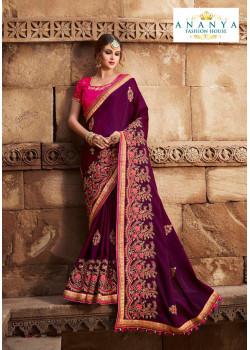Charming Dark Purple Silk modal Saree with Magenta Blouse