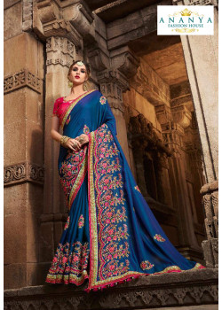 Dazzling Blue Silk modal Saree with Magenta Blouse
