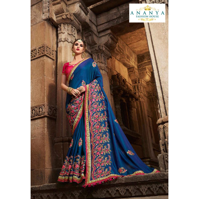 Dazzling Blue Silk modal Saree with Magenta Blouse