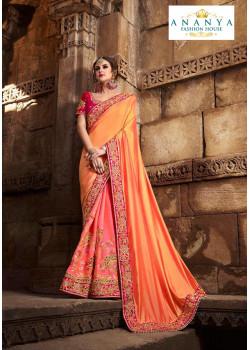 Divine Peach- Pink Silk modal Saree with Magenta Blouse