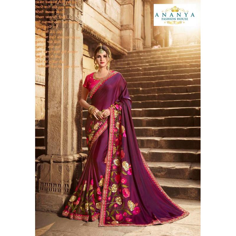 Flamboyant Dark Purple Silk modal Saree with Magenta Blouse