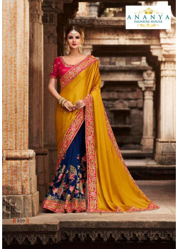 Gorgeous Mustard- Blue Silk modal Saree with Magenta Blouse