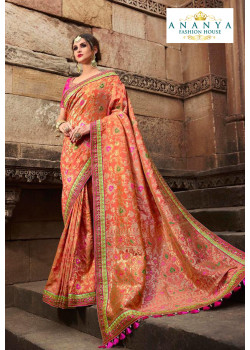 Magnificient Light Orange Silk modal Saree with Magenta Blouse