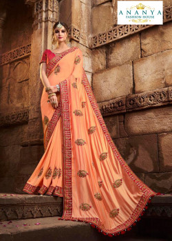 Melodic Peach Silk modal Saree with Red Blouse