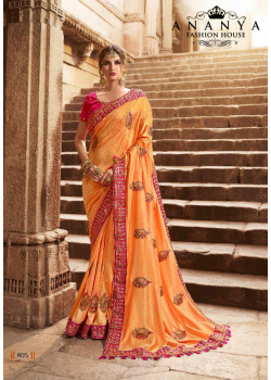 Trendy Peach Silk modal Saree with Magenta Blouse