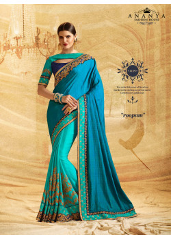 Enigmatic Light Blue- blue Crape Chiffon- Jacquard Saree with Light Blue- Dark Blue Blouse