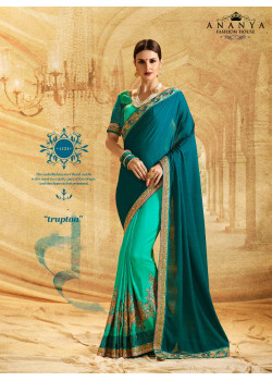 Luscious Rama Green- Turquoise Chiffon- Jacquard Chiffon Saree with Rama Green Blouse