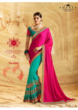 Charming Light Blue- Pink Georgette Saree with Light Blue Blouse