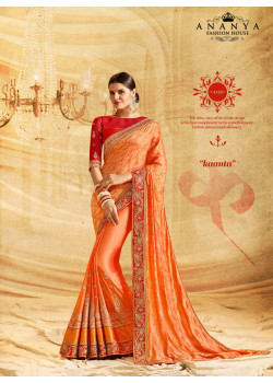 Classic Orange Crape Chiffon- Jacquard Silk Saree with Orange Blouse