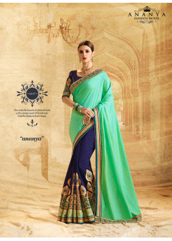Incredible Light Green- Navy Blue Chiffon- Georgette Saree with Dark Blue Blouse