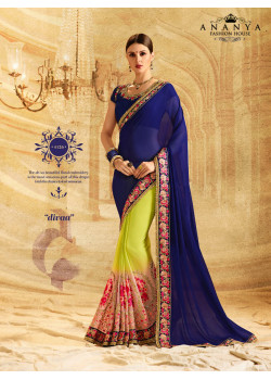 Melodic Lime Green- Dark Blue Georgette Saree with Dark Blue Blouse