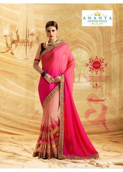 Trendy Light Pink- Pink Chiffon- Jacquard Chiffon Saree with Dark Blue Blouse