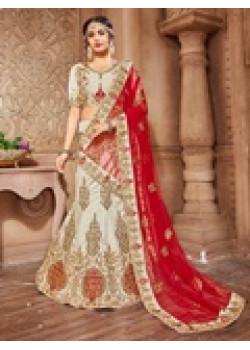 Luscious Chiku color Pure Silk Designer Lehenga