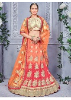 Flamboyant Orange color Banarsi Silk Designer Lehenga
