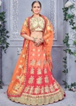 Flamboyant Orange color Banarsi Silk Designer Lehenga