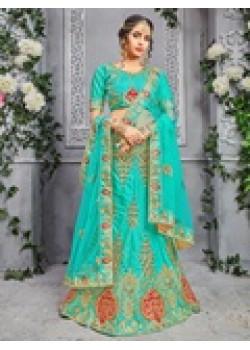 Trendy Firoji color Pure Silk Designer Lehenga