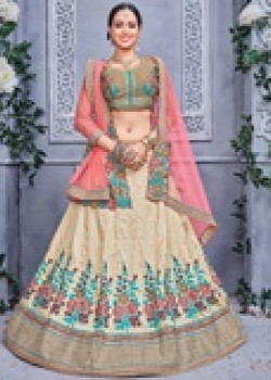 Melodic Off White color Silk Designer Lehenga