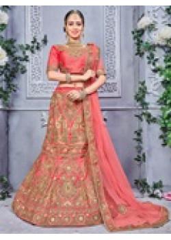 Divine Gajari color Pure Silk Wedding Lehenga