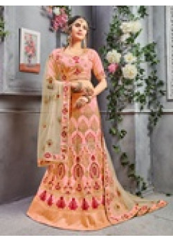 Incredible Peach color Pure Silk Designer Lehenga
