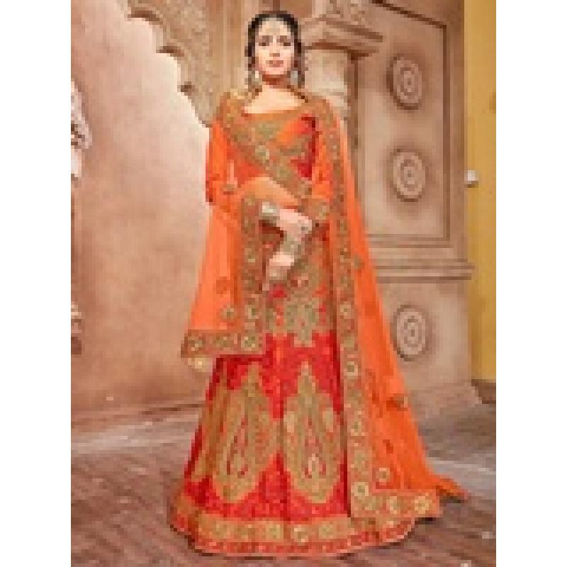 Charming Orange color Pure Silk Wedding Lehenga