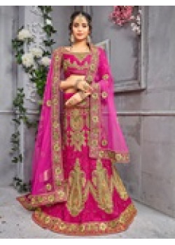 Dazzling Rani color Pure Silk Wedding Lehenga