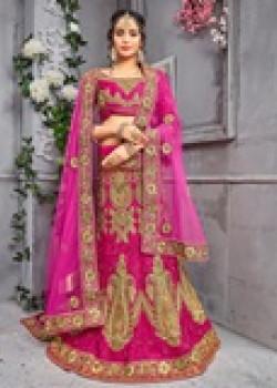 Dazzling Rani color Pure Silk Wedding Lehenga