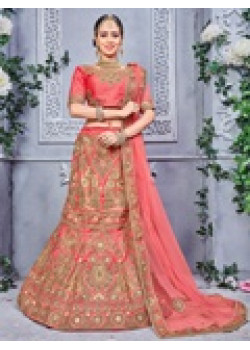Divine Gajari color Pure Silk Wedding Lehenga