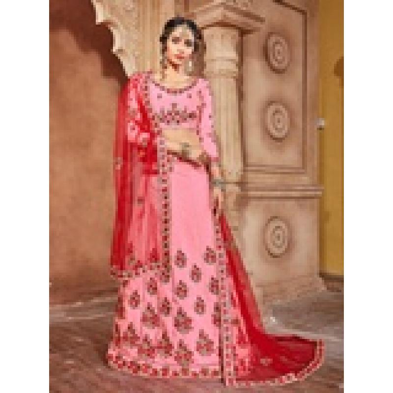 Exotic Pink color Banarasi Silk Designer Lehenga