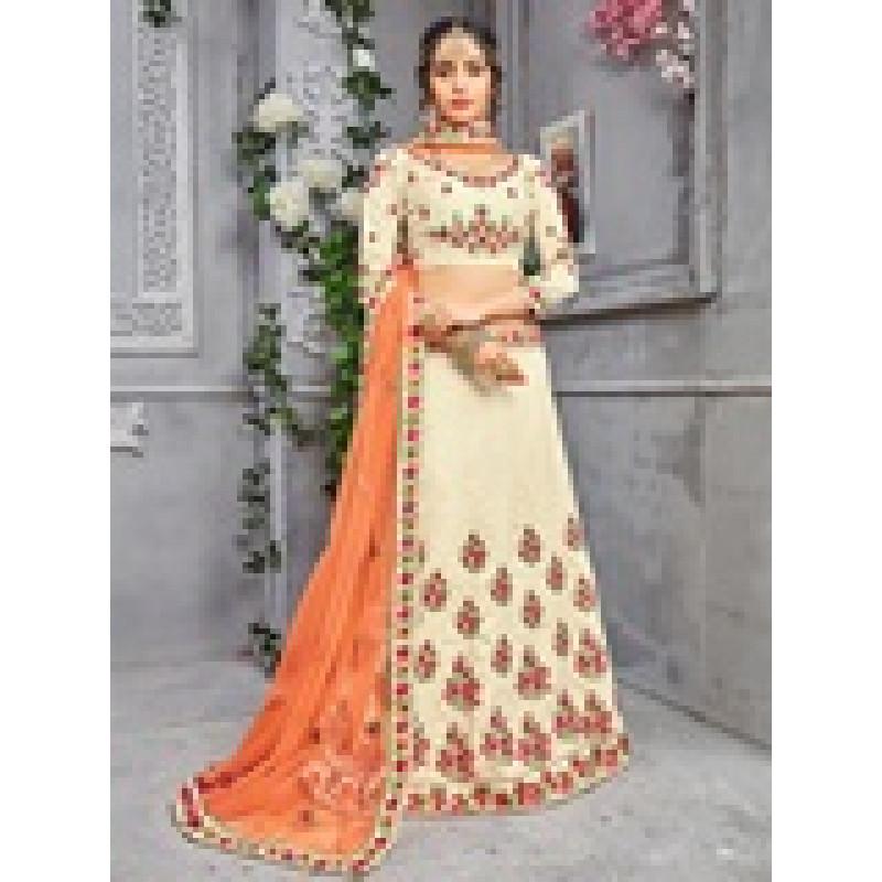 Gorgeous Chiku color Banarasi Silk Designer Lehenga