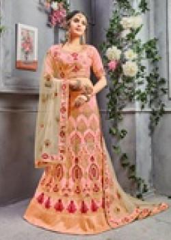 Incredible Peach color Pure Silk Designer Lehenga