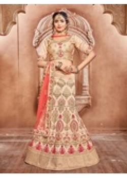 Magnificient Chiku color Pure Silk Designer Lehenga
