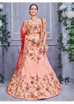 Plushy Peach color Pure Silk Designer Lehenga