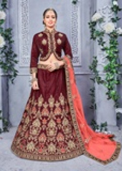 Enigmatic Brown color Velvet -Two Tone Designer Lehenga
