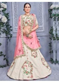 Melodic Off white color Banarsi Silk Designer Lehenga