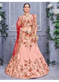 Plushy Peach color Pure Silk Designer Lehenga