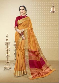 Trendy Yellow Cotton Handloom Silk Saree with Maroon Blouse