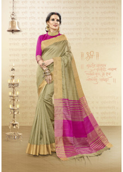 Divine Beige Cotton Handloom Silk Saree with Pink Blouse