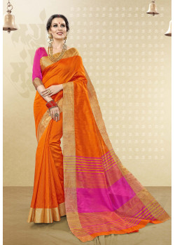Charming Orange Cotton Handloom Silk Saree with Pink Blouse