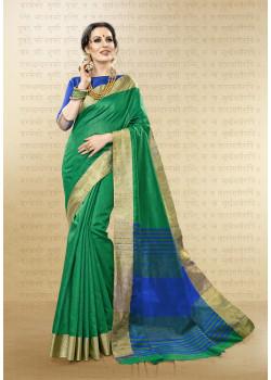 Dazzling Green Cotton Handloom Silk Saree with Blue Blouse