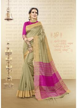 Divine Beige Cotton Handloom Silk Saree with Pink Blouse