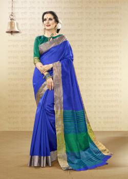 Flamboyant Blue Cotton Handloom Silk Saree with Green Blouse