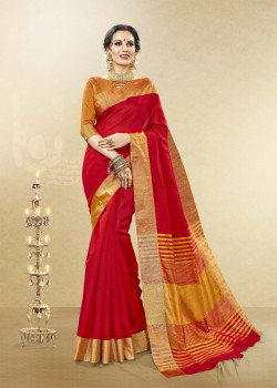 Luscious Red Cotton Handloom Silk Saree with Yellow Blouse